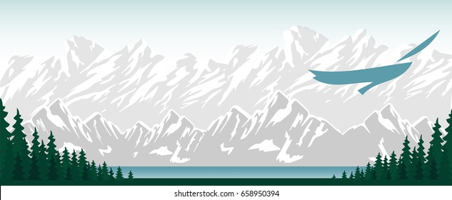 Vector mountains and forest landscape. Panorama vector illustration of mountain ridges. The flight of a bird over the lake