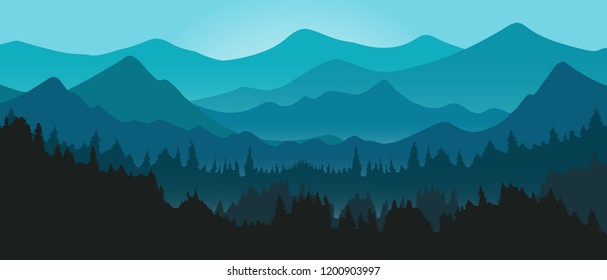 Vector mountains and forest Panorama landscape in evening blue sky