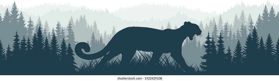 vector mountains forest woodland background texture seamless pattern with Puma, Cougar, mountain lion