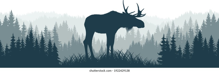 vector mountains forest woodland background texture seamless pattern with moose bull
