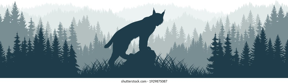 vector mountains forest woodland background texture seamless pattern with wild bobcat lynx