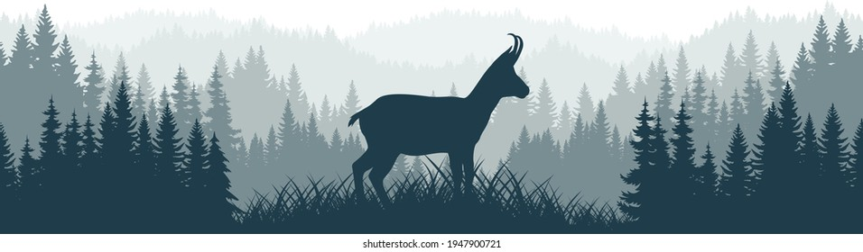 vector mountains forest woodland background texture seamless pattern with wild chamois