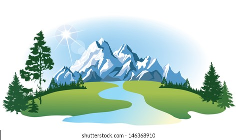 Vector mountains and green valley