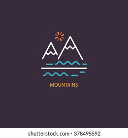 Vector Mountains Icon Symbol. Line style logotype isolated on dark background and easy to use. Perfect logo for your business. Clean and minimalistic symbols.