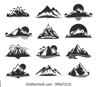 Vector mountains icons isolated on white.