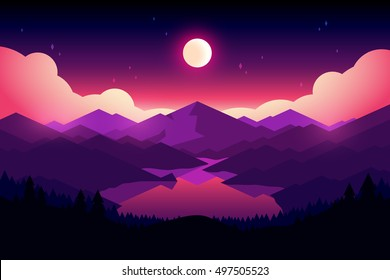 Vector mountains, lake and forest landscape in the night. Beautiful geometric illustration.