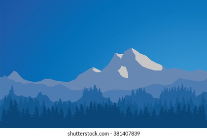 Vector mountains landscape, abstract blue panoramic view, vector illustration