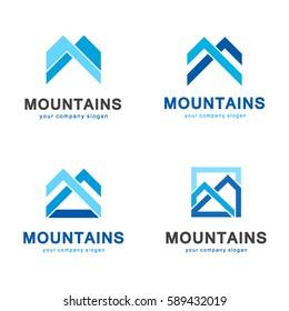 Vector mountains logo design