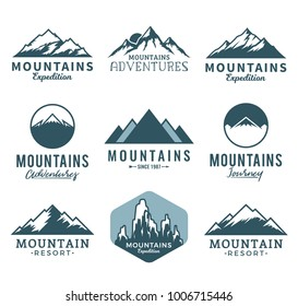 Vector mountains logo isolated on white