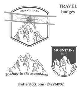 Vector mountains and plain. Set of vintage airplane labels, badges and design elements