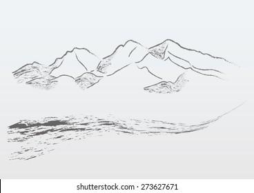 Vector mountains road panorama monochrome vintage illustration