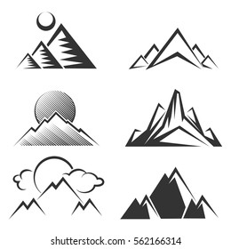 Vector mountains silhouettes collection isolated on white background