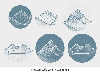 Vector Mountains Tattoo. Blackwork, dot work, hipster, geometry.