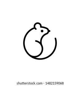 Vector mouse logo. Black and white Rat line icon isolated.