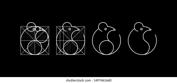 Vector Mouse Logo Design Template. Rat, mouse, mice icon lineart design.