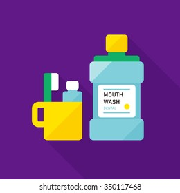 vector mouthwash, toothbrush and cup / flat style icon / on purple