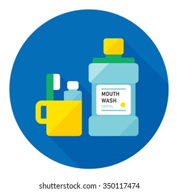 vector mouthwash, toothbrush and cup / flat style icon / on blue