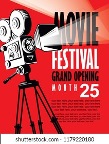 Vector movie festival poster with retro movie camera. Cinema banner with words Grand opening and place for text on red background. Can be used for poster, flyer, billboard, web page, background