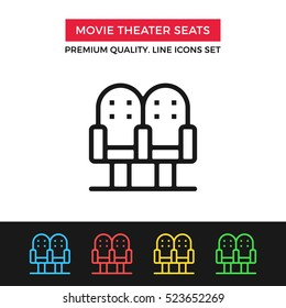 Vector movie theater seats icon. Buy tickets, select row and seats. Premium quality graphic design. Signs, outline symbols, simple thin line icons set for website, web design, mobile app, infographics