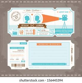 Vector Movie Ticket Wedding Invitation Design Template