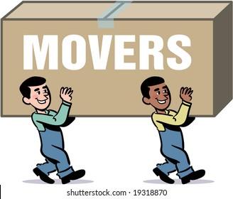 vector moving men carrying a big box