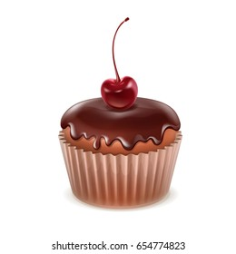 Vector muffin with chocolate icing and cherry close up isolated on white background