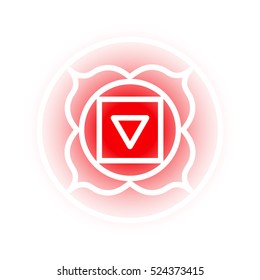 Vector Muladhara chakra icon. Color yoga chakra symbol on white. Great for design, associated with yoga and India. Energetic point from Buddhism and Hinduism