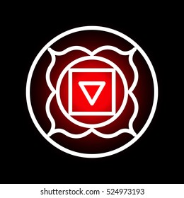 Vector Muladhara chakra icon. Color yoga chakra symbol on black. Great for design, associated with yoga and India. Energetic point from Buddhism and Hinduism