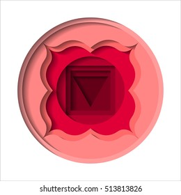 Vector Muladhara chakra icon. Paper carve. Color yoga chakra symbol paper cut out style isolated on white. Great for design, associated with yoga and India. Energetic point from Buddhism and Hinduism