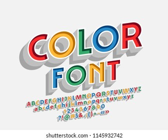 Vector Multicolor Alphabet Letters, Numbers and Symbols. Bright 3D Font.