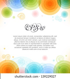Vector multicolor background with circles. Shiny banner. Web elements for presentations, cards, web pages