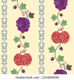 Vector multicolor berries, apples and acorns with leaves seamless pattern background in ornamental folk art vintage style. Perfect for fabric, scrapbooking, giftwrap, wall paper projects, stationary