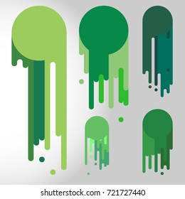 Vector multicolor dripping paint. Icon set isolated on abstract background