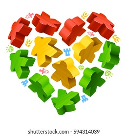 Vector multicolor game pieces in the shape of heart. Red, yellow and green wooden meeples, and resources counter icons isolated on white background. Concept of love by board games