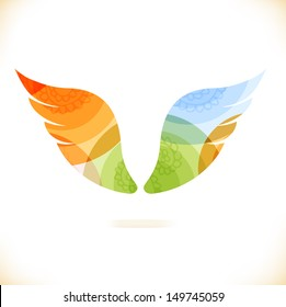 Vector multicolor isolated wings. Beauty unusual element for design