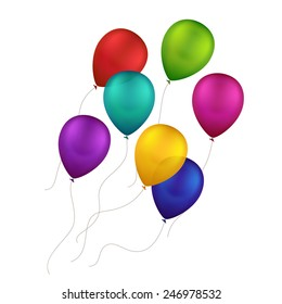 Vector Multicolored Colorful Balloons Isolated on White Background