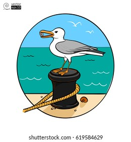 Vector multicolored with contour image of a seagull that sits on the dock with a sea background. Picture for postcard or T-shirt or poster