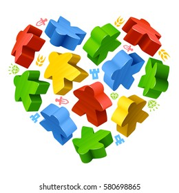 Vector multicolored game pieces in the shape of heart. Red, blue, green and yellow wooden meeples, and resources counter icons isolated on white background. Concept of love by board games