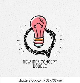 Vector multicolored hand-drawn doodles, idea icon, stamp