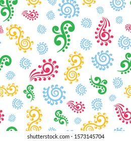 Vector multicolored koru elements seamless pattern background on white surface