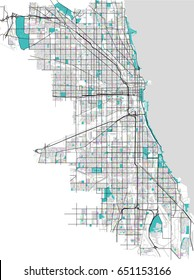 vector multicolored map of the city of Chicago, USA