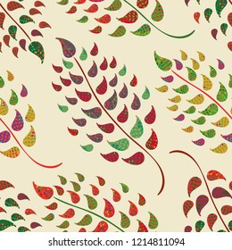 Vector multicolour leaves seamless pattern in ornamental folk art style. Perfect for fabric, giftwrap, wallpaper, stationery, quilting and marketing projects