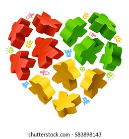 Vector multicoloured game pieces in the shape of heart. Red, yellow and green wooden meeples, and resources counter icons isolated on white background. Concept of love by board games