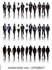 Vector of multi-ethnic business people walking.