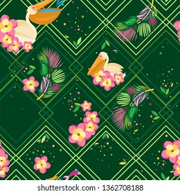 Vector multi-layered seamless pattern. Pattern of rhombuses in shades of green, tropical leaves and pelicans in flowers. Dark green background