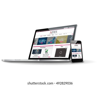 Vector multiple devices with business news internet web site