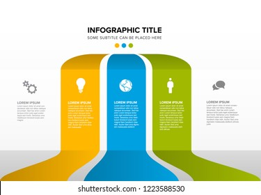 Vector multipurpose Infographic template made from three color content blocks