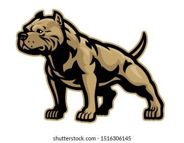 vector of muscle athletic body of pitbull dog