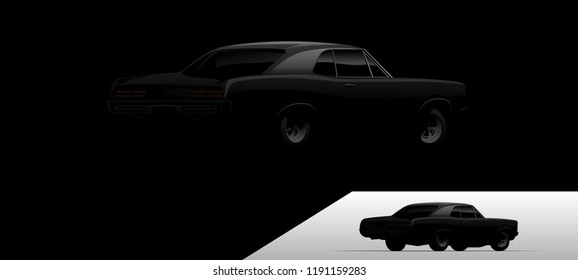 Vector muscle car in dark environment.