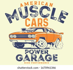 vector muscle car and hot rod racing car illustration for t shirt print